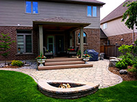 Permacon Mega Arbel patio with connected firepit